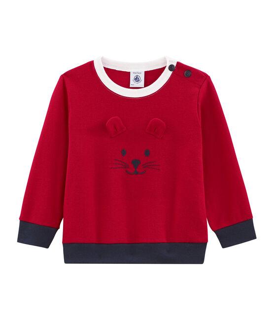 Felpa bebè maschio in maglia rosso Terkuit