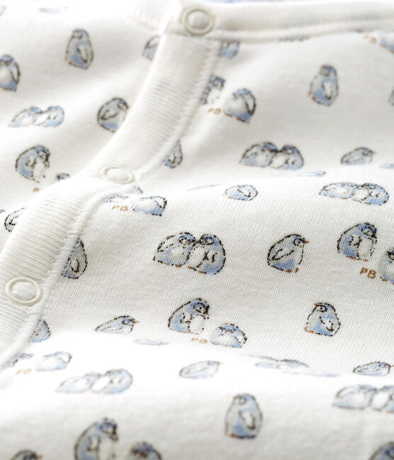 Combisac bebè a costine bianco Marshmallow / blu Toudou
