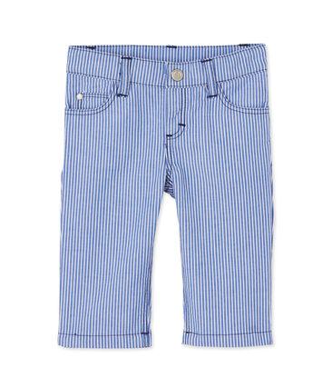 Pantaloni per bebè maschio a righe blu Surf / bianco Ecume
