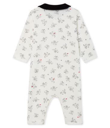 Tutina pigiama senza piedi bambino a costine bianco Marshmallow / bianco Multico