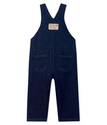 Salopette lunga in maglia effetto denim per bebè unisex blu Jean