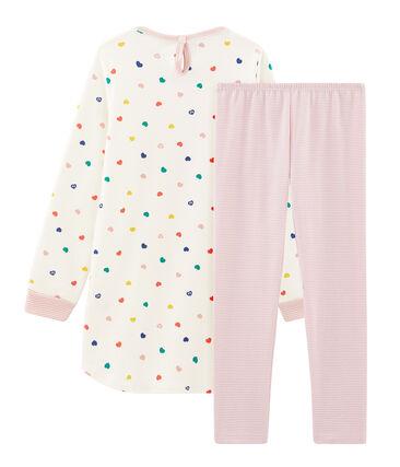 Camicia da notte a manica lunga bambina in molleton bianco Marshmallow / bianco Multico