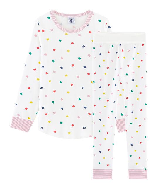 Pigiama bambina a costine con vita alta bianco Marshmallow / bianco Multico