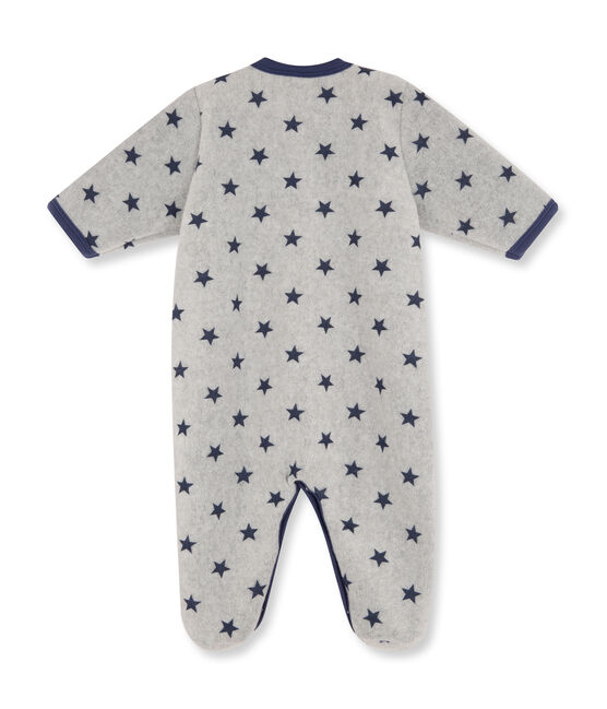 Tutina in pile stampato per bebé maschio grigio Subway / blu Logo