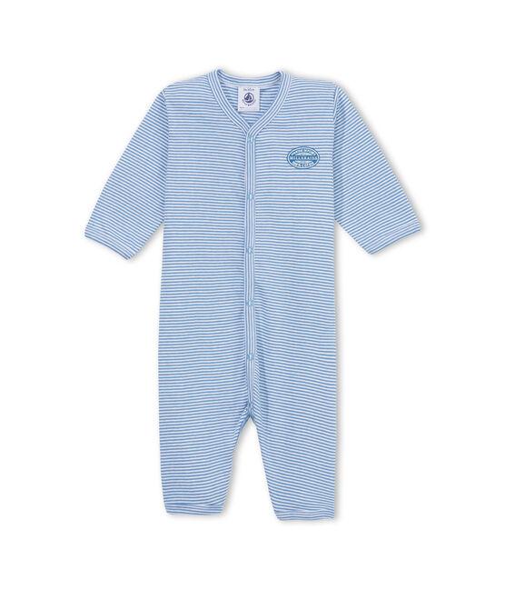 Tutina per bebé maschio senza piedini millerighe blu Alaska / bianco Ecume
