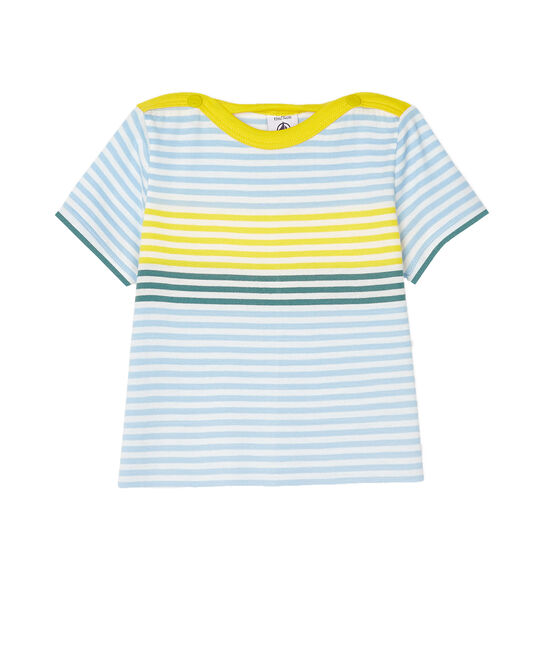 T-shirt a righe bebè maschio bianco Marshmallow / bianco Multico