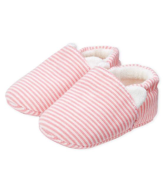 Scarpine bebé femmina a costine rosa Charme / bianco Marshmallow