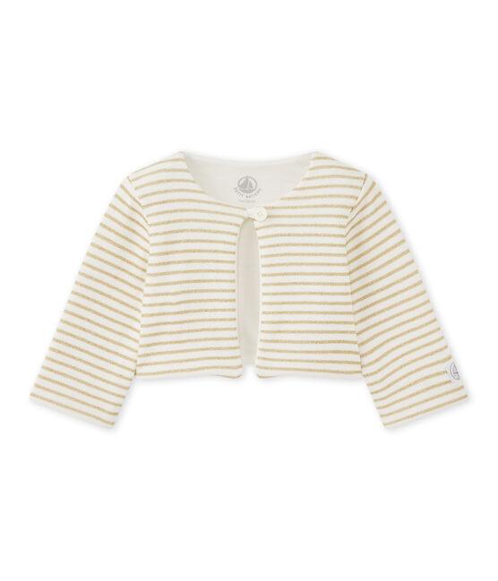 Cardigan rigato per bebé femmina bianco Marshmallow / giallo Dore