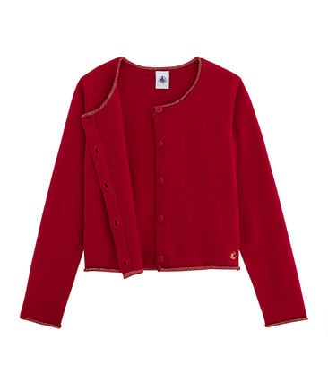 Cardigan tricot bambina rosso Terkuit