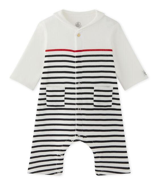Tutina rigata per bebé maschio con colletto stile marinaro bianco Lait / blu Smoking
