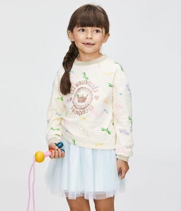 Felpa bambina beige Coquille / bianco Multico
