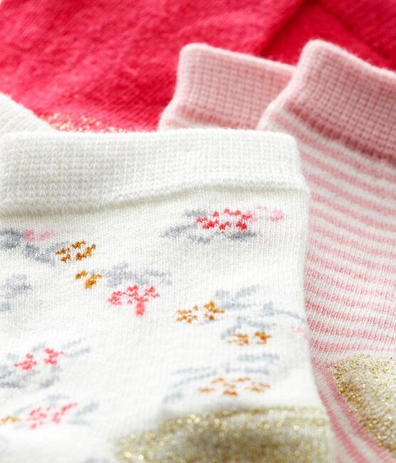 Confezione da 3 paia di calzini bebè femmina rosa Charme