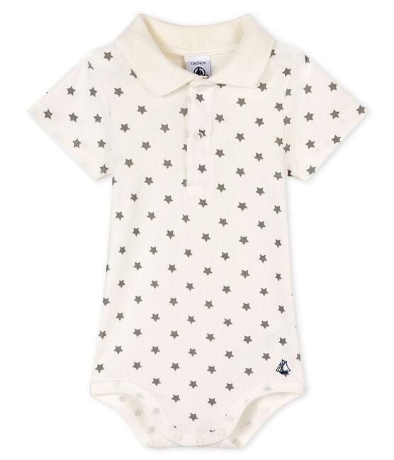 Body con colletto a polo fantasia bebè maschietto bianco Marshmallow / grigio Gris