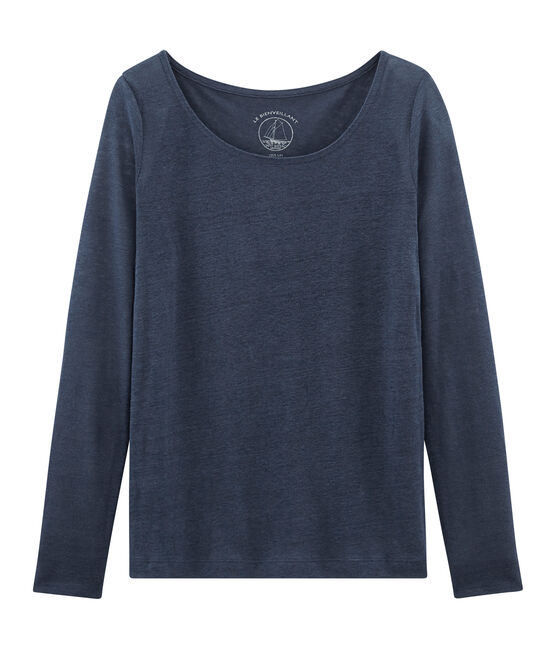 T-shirt maniche lunghe donna in lino blu Haddock