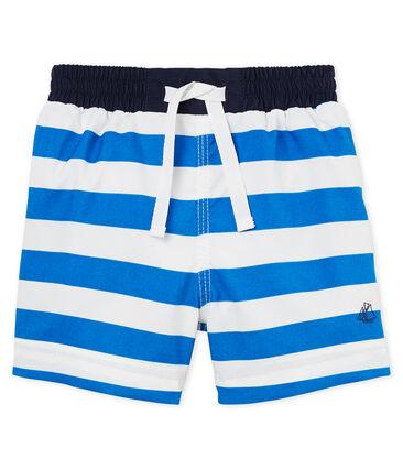 Short da spiaggia rigato neonato blu Riyadh / bianco Marshmallow