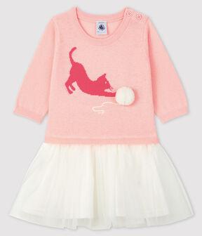 Abito a maniche lunghe da bebè femmina rosa Minois