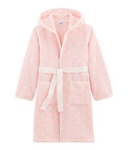 Vestaglia da bambino in pile rosa Minois / bianco Marshmallow