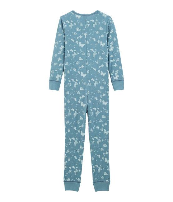 Tutina lunga bambina in cotone blu Fontaine / bianco Marshmallow