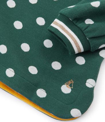 Abito stampato bambina verde Sousbois / bianco Marshmallow