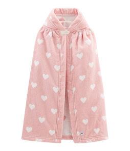 Mantellina da bagno bebé in spugna rosa Charme / bianco Marshmallow