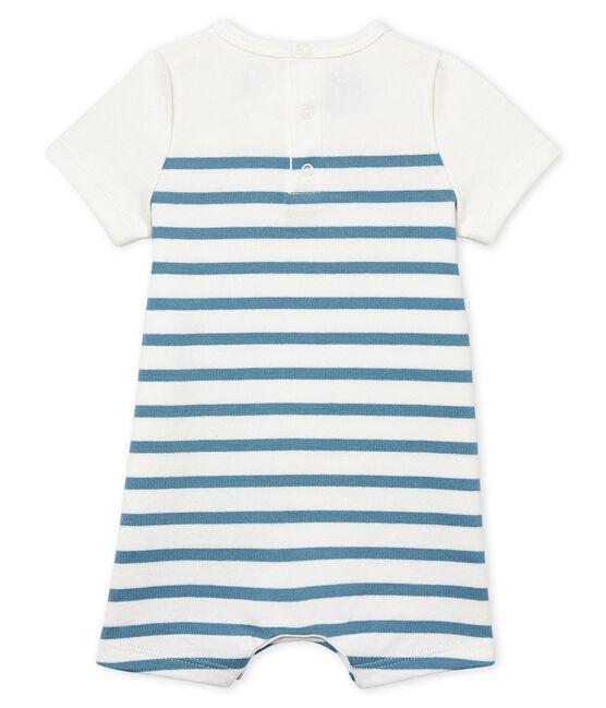 Tutina corta bebè maschio a manica corta bianco Marshmallow / blu Fontaine