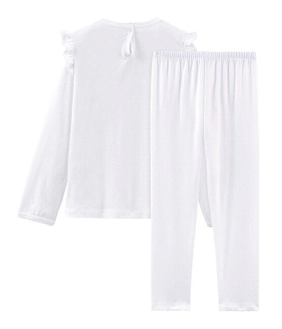 Pigiama bambina in cotone sottile bianco Ecume