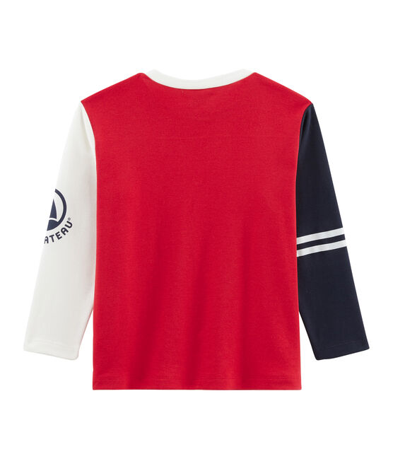 T-shirt a maniche lunghe bambino rosso Terkuit / bianco Multico