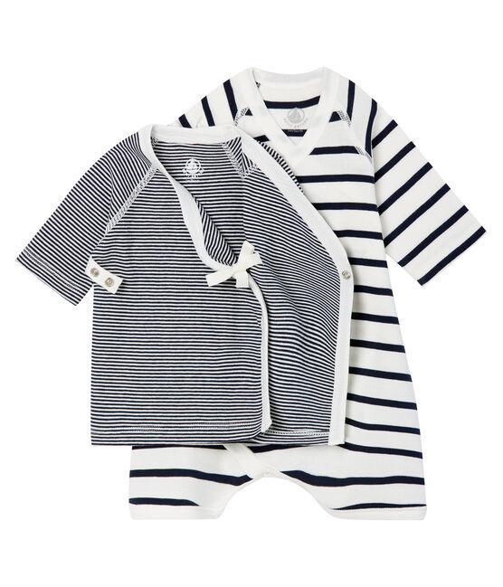 Confezione body kimono e brassière bebè a costina lotto .
