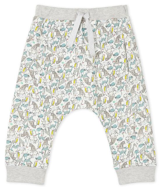 Pantalone bebè maschio in molleton leggero bianco Marshmallow / bianco Multico