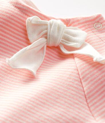 T-shirt a maniche corte bebè femmina rosa Patience / bianco Marshmallow
