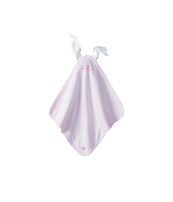 Doudou coniglietto bebè a costine bianco Lait / rosa Pivoine