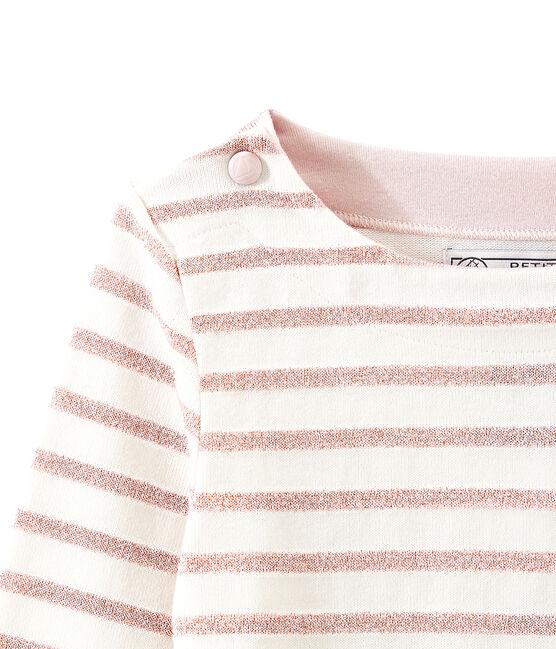 Marinière con paillettes per bambina bianco Marshmallow / rosa Joli Brillant