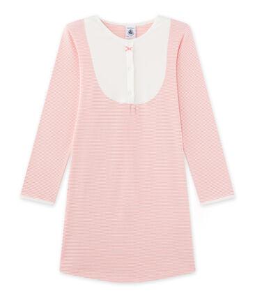 Camicia da notte per bambina millerighe rosa Gretel / bianco Lait