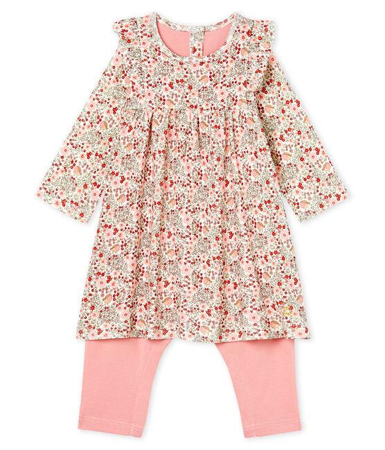 Abito legging fantasia bebè femmina bianco Marshmallow / bianco Multico