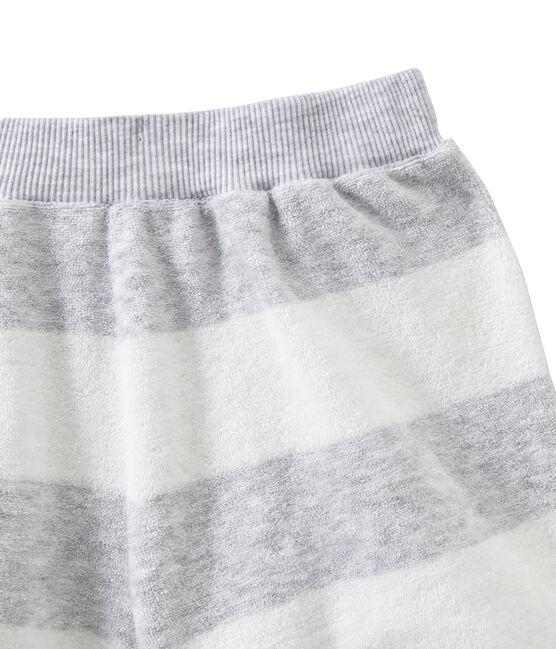 Pigiama corto bambino doppio tessuto grigio Poussiere / bianco Lait