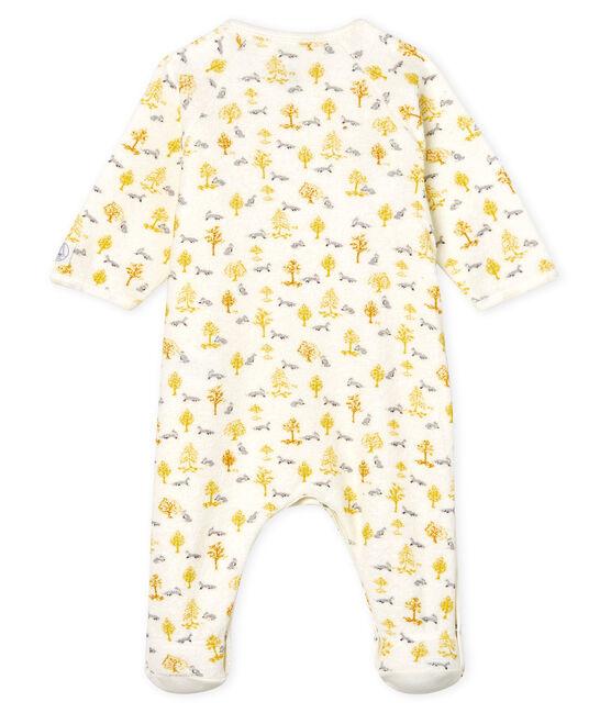 Tutina pigiama bebè maschio in spugna bouclette grattata super calda bianco Marshmallow / bianco Multico