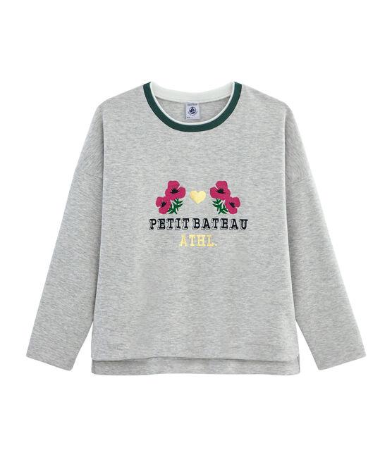 T-shirt serigrafata bambina grigio Beluga