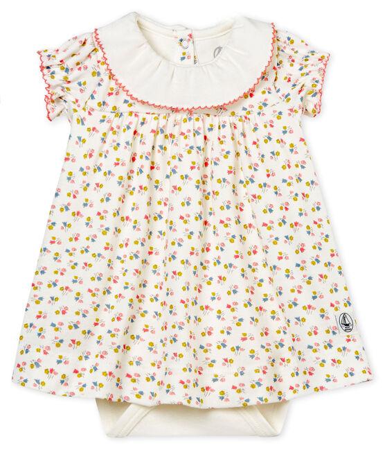 Abito body fantasia bebè femmina bianco Marshmallow / bianco Multico