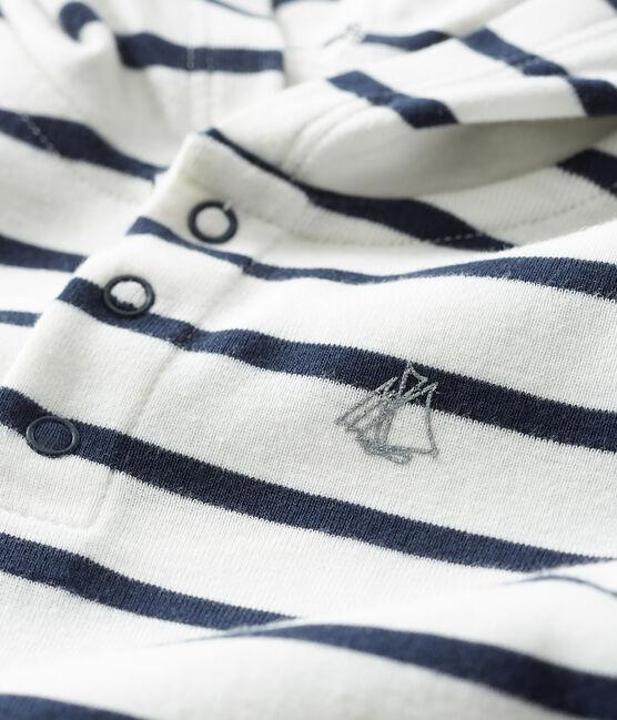 Body con cappuccio bebè maschio bianco Marshmallow / blu Smoking