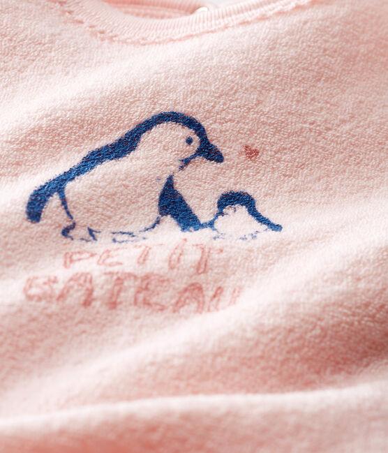 Tutina bebé femmina in spugna bouclette grattata super calda rosa Minois