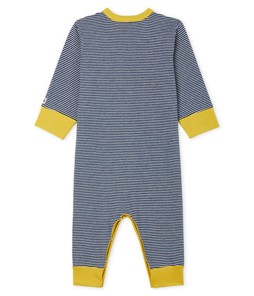 Tutina senza piedi bebé maschio a costine blu Medieval / bianco Marshmallow