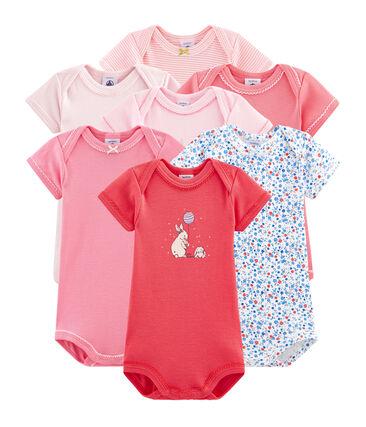 Pochette a sorpresa di 7 body a manica corta bebè femmina lotto .