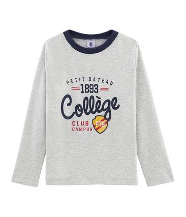 T-shirt serigrafata a manica lunga bambino grigio Beluga