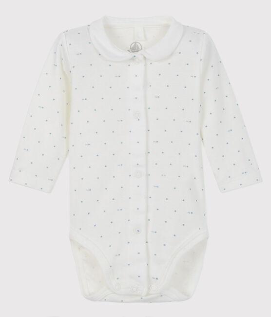 Body con collo manica lunga bebè bianco Marshmallow / blu Acier