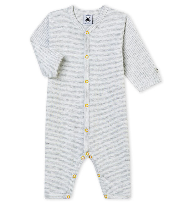 Tutina senza piedi per bebé maschio grigio Poussiere / bianco Marshmallow