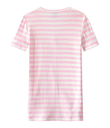 T-shirt donna scollo V in costina originale 1x1 rigata rosa Babylone / bianco Marshmallow