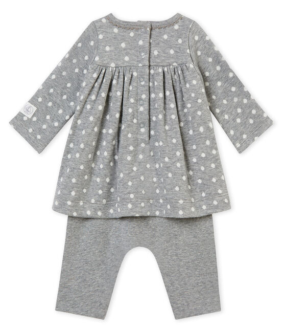 Abito leggings per bebé femmina grigio Subway / bianco Multico