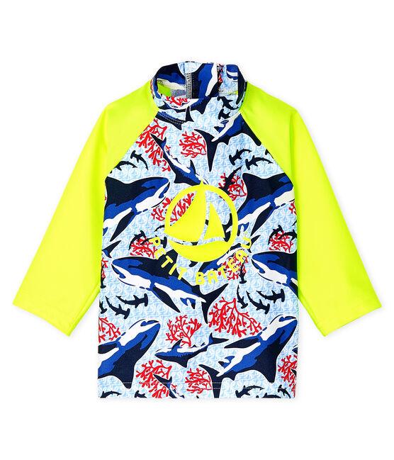 T-shirt anti-UV UPF 50+ ecoresponsabile bimbo blu Smoking / bianco Multico
