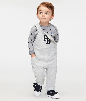T-shirt a manica lunga bebè maschio in fantasia grigio Subway / blu Smoking