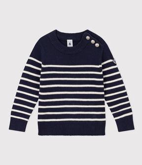 Pullover bambina/bambino in lana e cotone blu Smoking / bianco Marshmallow